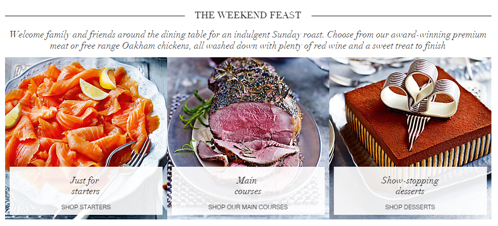 Bad example of a call to action on the Marks and Spencer website