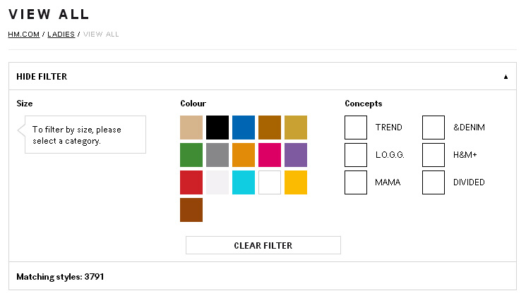 Bad examples of filter systems on H&M Website View All