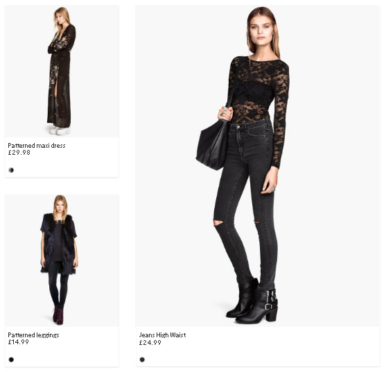 Bad examples of filter systems on H&M Website. Product Layout