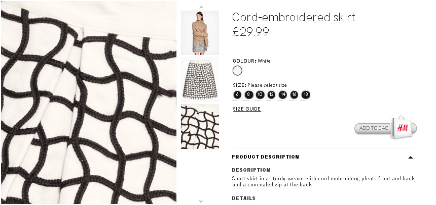 Bad examples of filter systems on H&M Website. Product close up