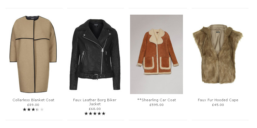 inconsistent product photography, Topshop