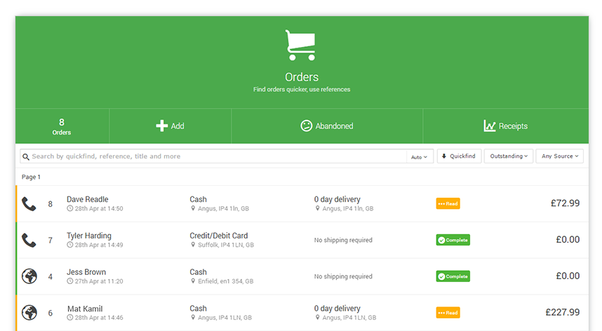 Find past orders quickly and efficiently with the Order Desk