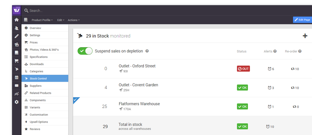 Keep track of your products with stock control and alerts