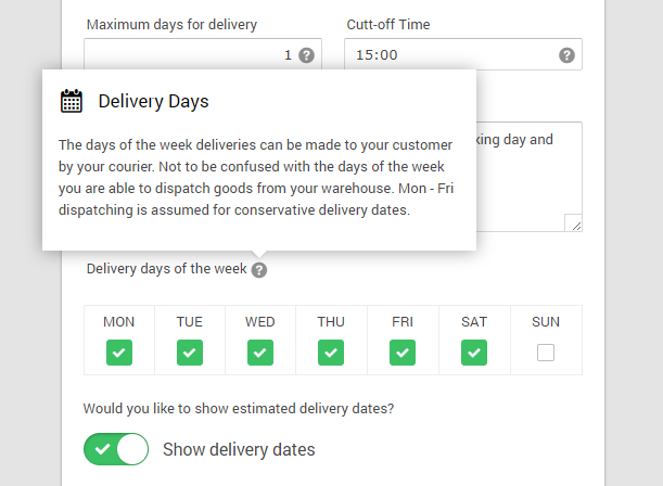 Delivery date options