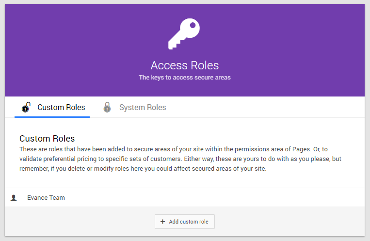Access Roles home screen