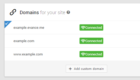 Connected custom domains